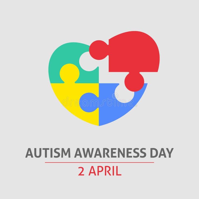 En fyrkantig vektorbild med en pusselhjärta som ett symbol av autismmedvetenhet En dag för världsautismmedvetenhet En mall för en stock illustrationer