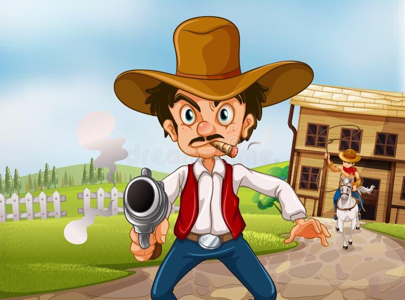 En gamal man som bär en hatt som rymmer ett vapen med en cigarett royaltyfri illustrationer
