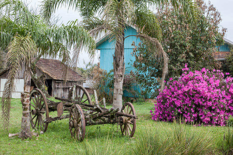 En gammal övergiven vagn med trähus och blommor i bacen royaltyfria bilder