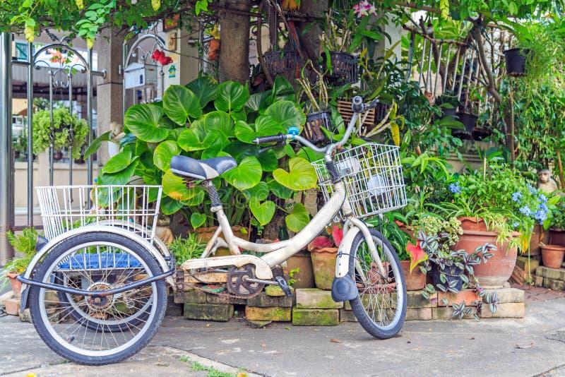 En gammal cykelparkering för tre hjul på den främre gården royaltyfria foton
