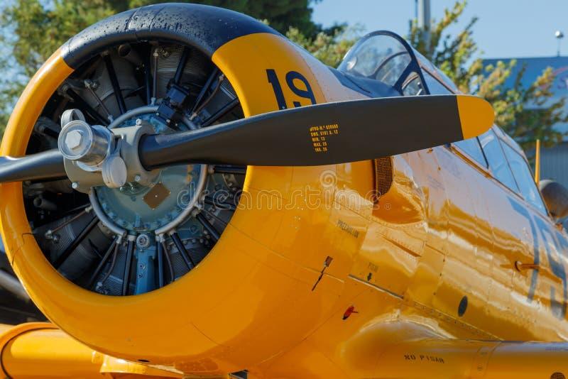 En gammal flygplanmotor och propeller royaltyfri bild