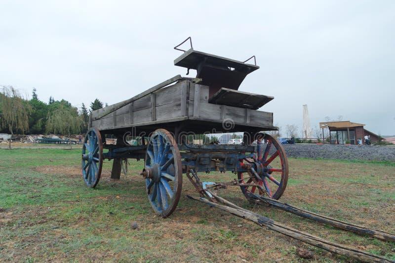 En gammal hästvagn på gräset royaltyfri fotografi