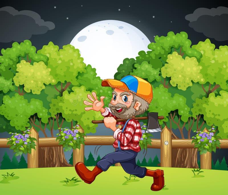 En gammal skogsarbetare som bär en yxa, medan gå royaltyfri illustrationer