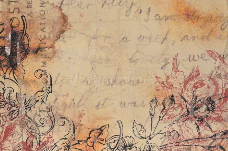 En gammal tappningvykort Grungy och oskarp bakgrund stock illustrationer