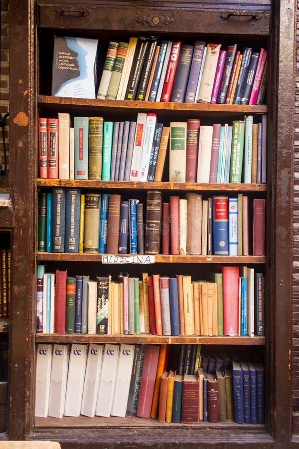 En gammal träbokhylla med gamla böcker royaltyfri bild