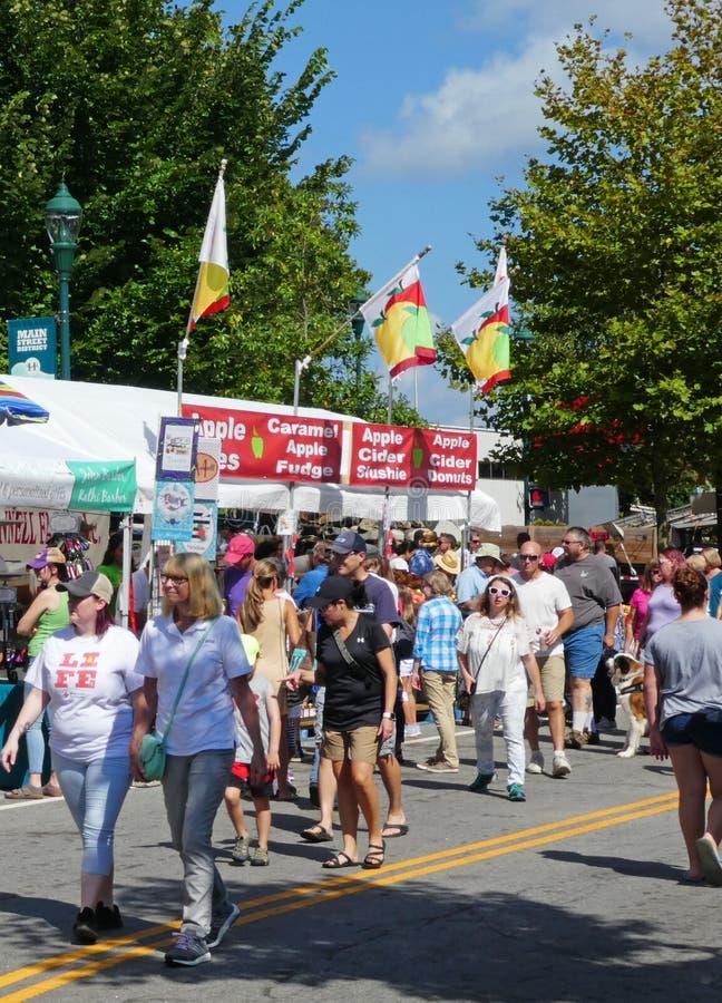 En ganska plats för gata från den norr Carolina Apple Festival royaltyfria bilder