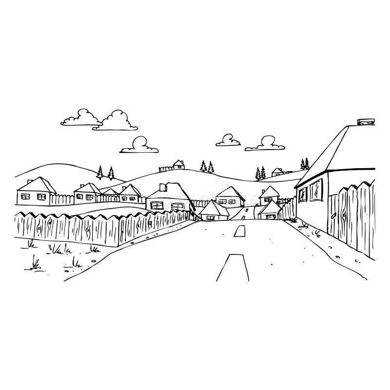 En gata i en by royaltyfri illustrationer