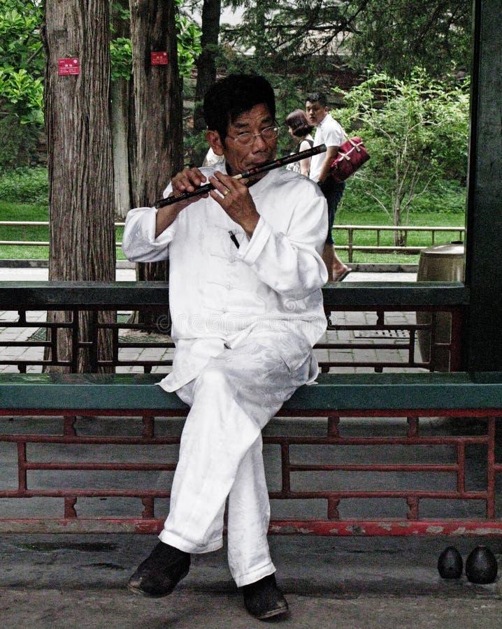 En gatamusiker spelar den traditionella flöjten royaltyfri bild