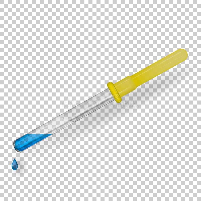 En genomskinlig exponeringsglasläkarundersökningpipett med ett gummirör som fylls med en blå flytande och en droppe stock illustrationer