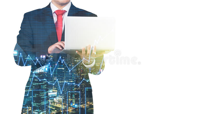 En genomskinlig kontur av en man i den formella dräkten som söker efter några data i bärbara datorn arkivbild