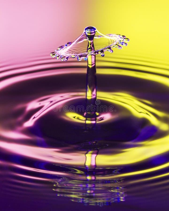 En genomskinlig vattendroppbild på en två tonad bakgrund royaltyfri fotografi