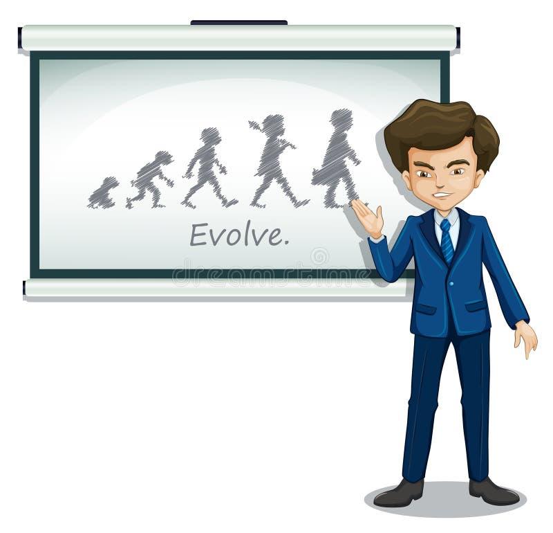 En gentleman som förklarar evolutionen av människor stock illustrationer
