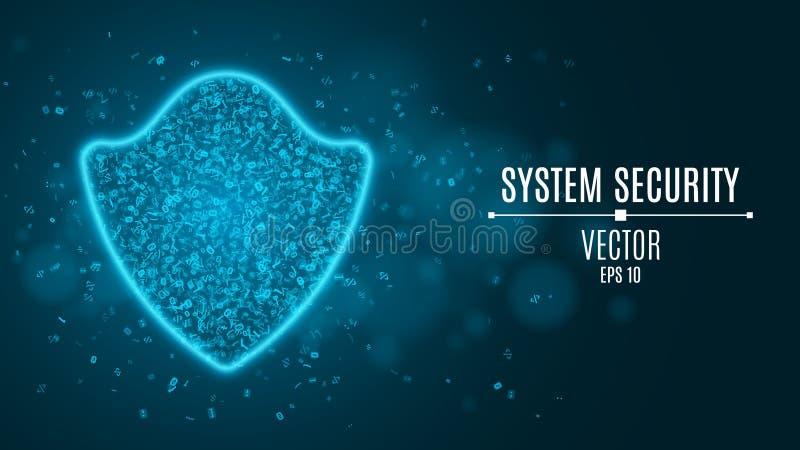 En glödande blå sköld av att programmera symboler Systemsäkerhet Tekniskt avancerad neonsköld Starkt skydd vektor illustrationer