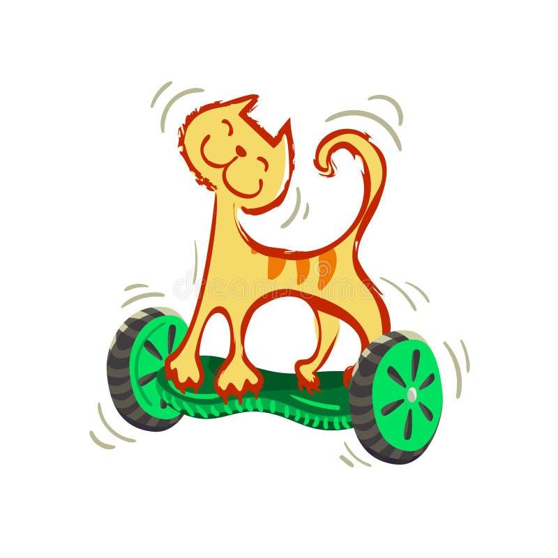 En gladlynt guling för tecknad film gjorde randig katten på ett gyroskop illustration från roliga katter för en serie royaltyfri illustrationer