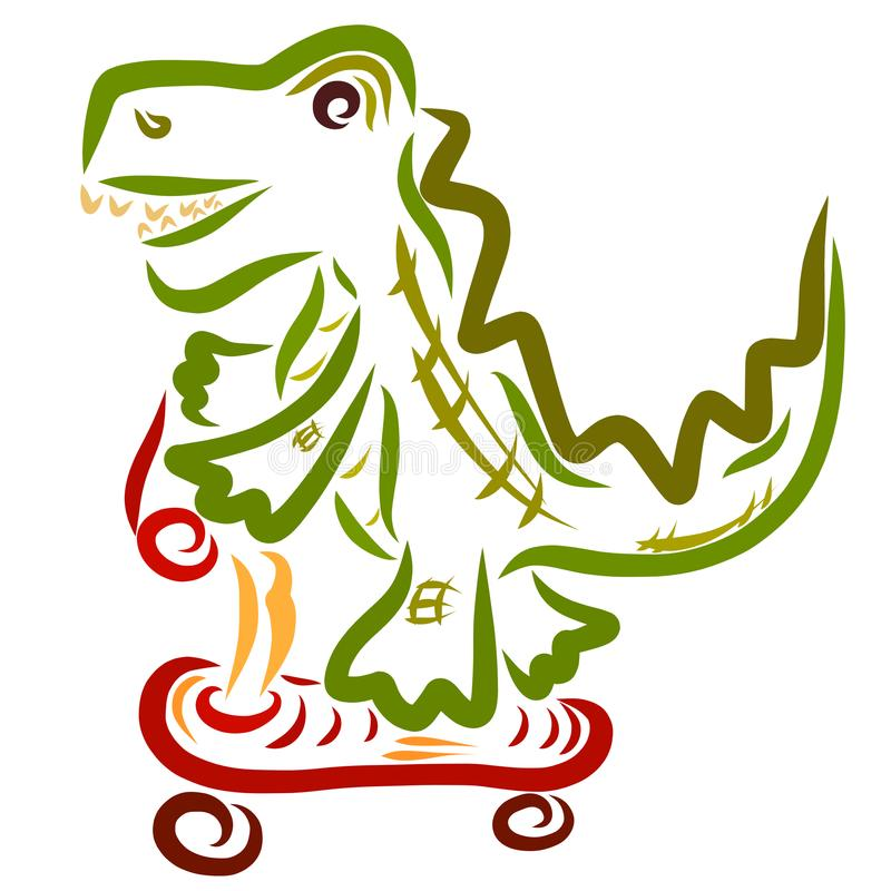 En gladlynt krokodil rullar på en sparkcykel royaltyfri illustrationer
