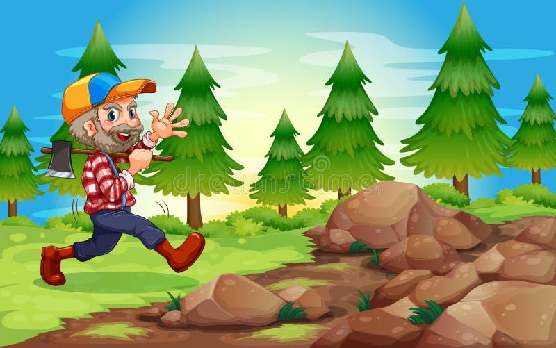 En gladlynt skogsarbetare nära vaggar vektor illustrationer