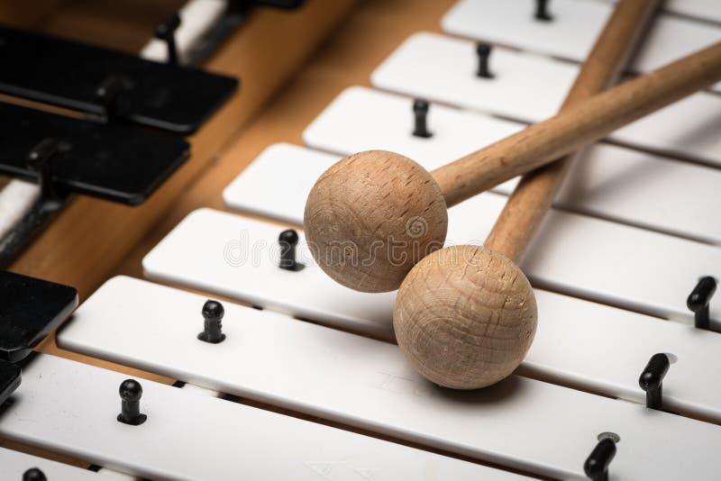En Glockenspiel med svartvita tangenter och träklubbor royaltyfri bild