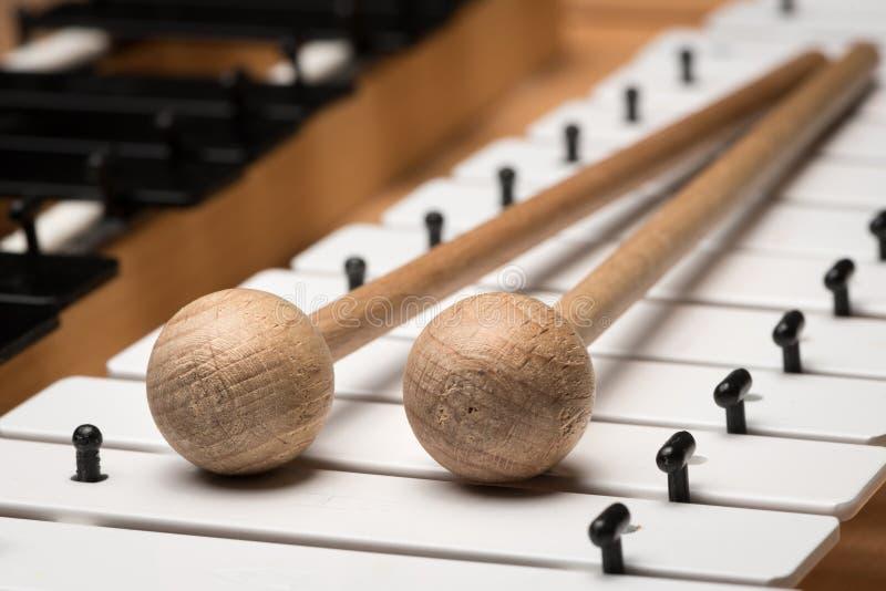 En Glockenspiel med svartvita tangenter och träklubbor royaltyfri foto