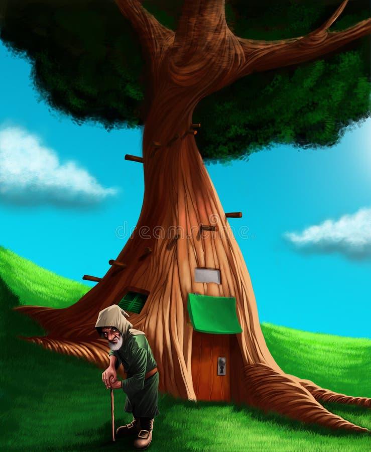 En gnom framme hans magiska trädhus stock illustrationer