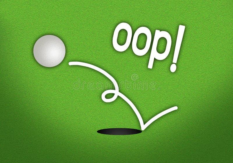 En golfbollbanhoppning ut ur spela golfboll i hål stock illustrationer
