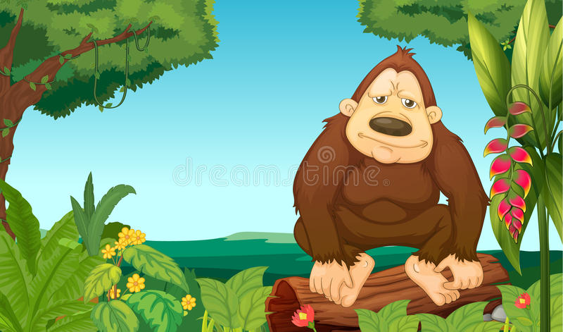 En gorilla i träna royaltyfri illustrationer