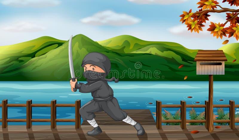 En grå ninja med ett skarpt svärd nära träbrevlådan vektor illustrationer