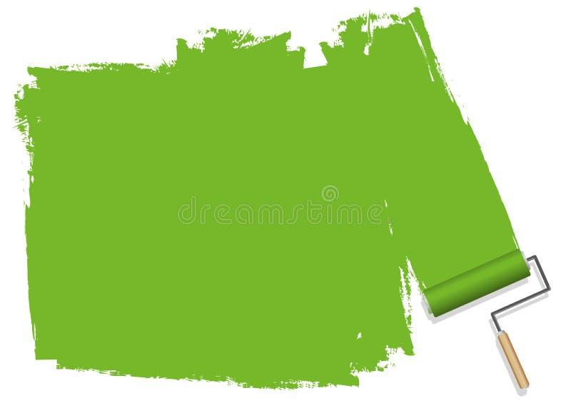 En grön bakgrund som målas med en rulle royaltyfri illustrationer