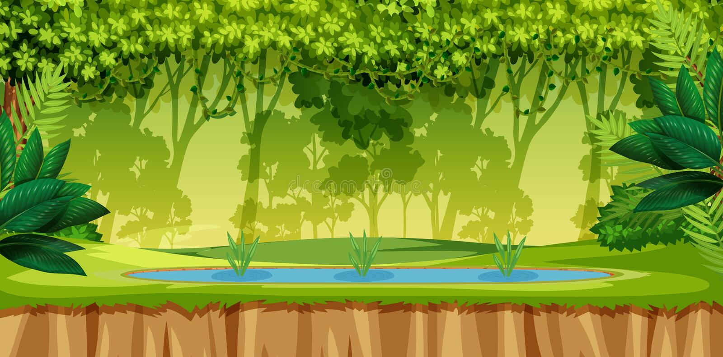 En grön djungelplats royaltyfri illustrationer