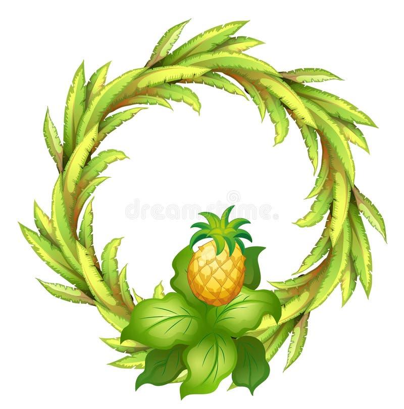 En grön gräns med ananas stock illustrationer