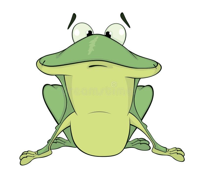 En grön groda cartoon vektor illustrationer