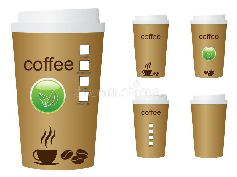 En grön illustration för kaffekopp med ordkaffet och ecoen undertecknar stock illustrationer