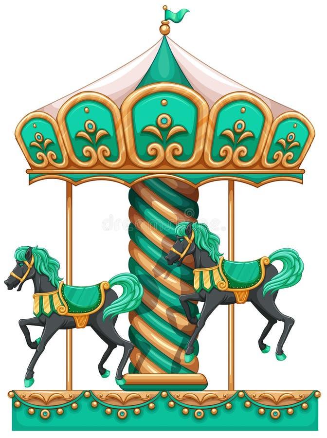 En grön karusell royaltyfri illustrationer