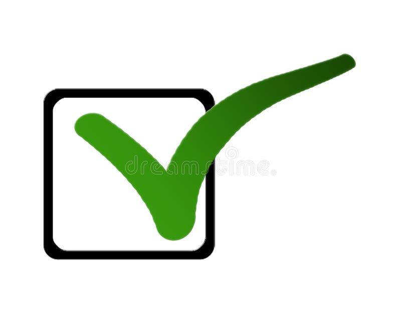 En grön tick i en lista av kontrollaskar royaltyfri illustrationer