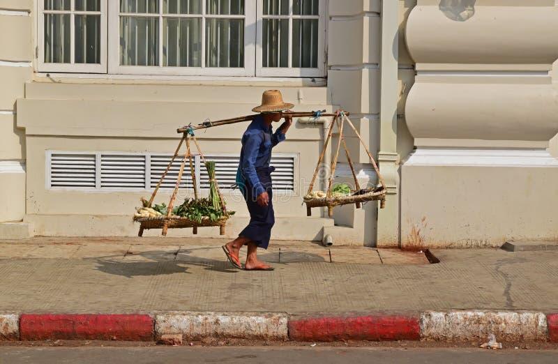 En grönsakförsäljare som bär hans nya jordbruksprodukter över hans vänstra skuldra i Yangon Myanmar royaltyfri fotografi