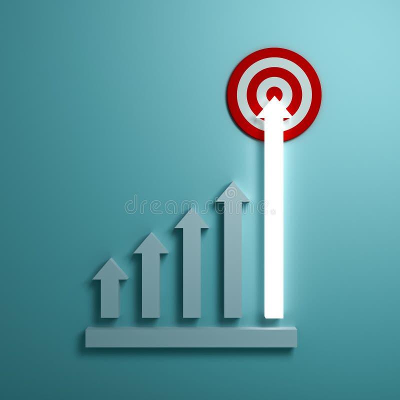 En grandissant la flèche légère représentez graphiquement viser à la cible de but ou au panneau de dard rouge le concept d'affair illustration libre de droits