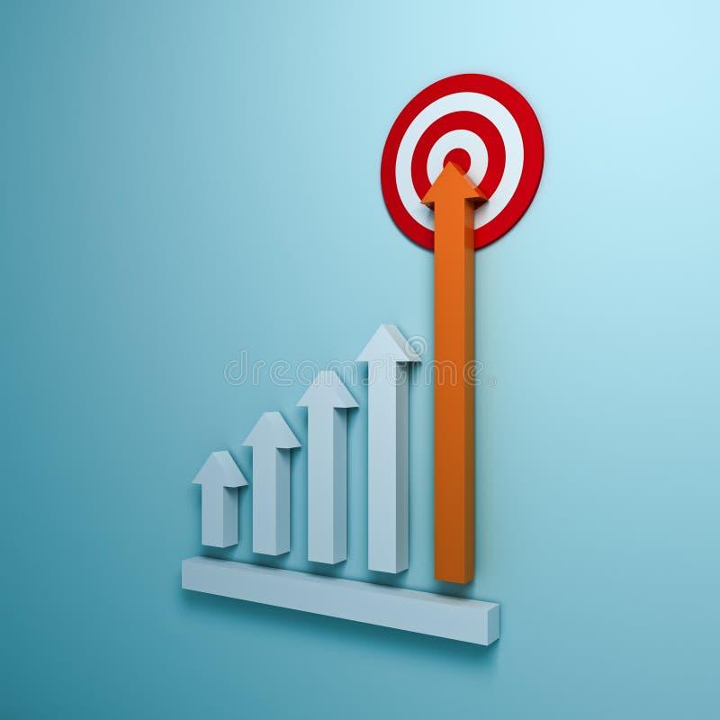 En grandissant la flèche représentez graphiquement viser à la cible de but ou au panneau de dard rouge le concept d'affaires sur  illustration libre de droits
