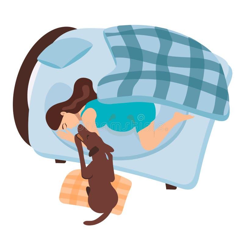 En gravid flicka vaknar upp Hunden vaknar upp en gravid kvinna Flickan med hennes husdjur sover i säng Turkosmorgon stock illustrationer