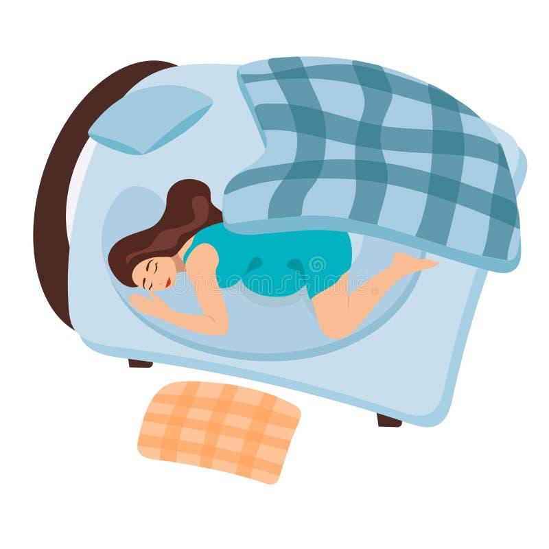 En gravid flicka vaknar upp i morgonen Hunden vaknar upp en gravid kvinna Flickan sover i s?ng turkos stock illustrationer