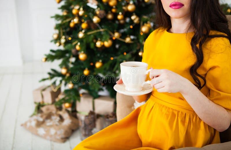 En gravid kvinna dricker te nära spisen och Christmaen royaltyfri fotografi