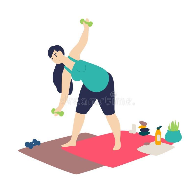 En gravid kvinna som gör gymnastik vektor Plan tecknad filmstil Sportkurser hemma Övningsyoga för förväntansfull moder Sunt stock illustrationer