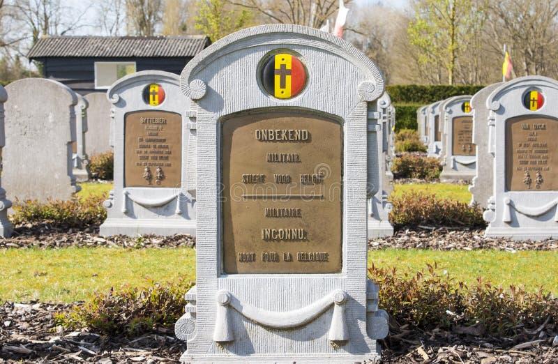 En gravsten av okänt belgiskt soldatvärldskrig ett royaltyfria foton