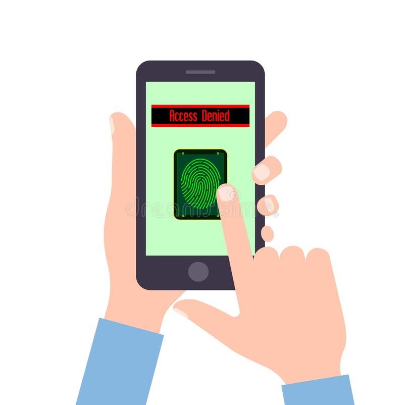 En grej är i händer Avkännare av fingeravtryck Säkert inklusive i systemet royaltyfri illustrationer