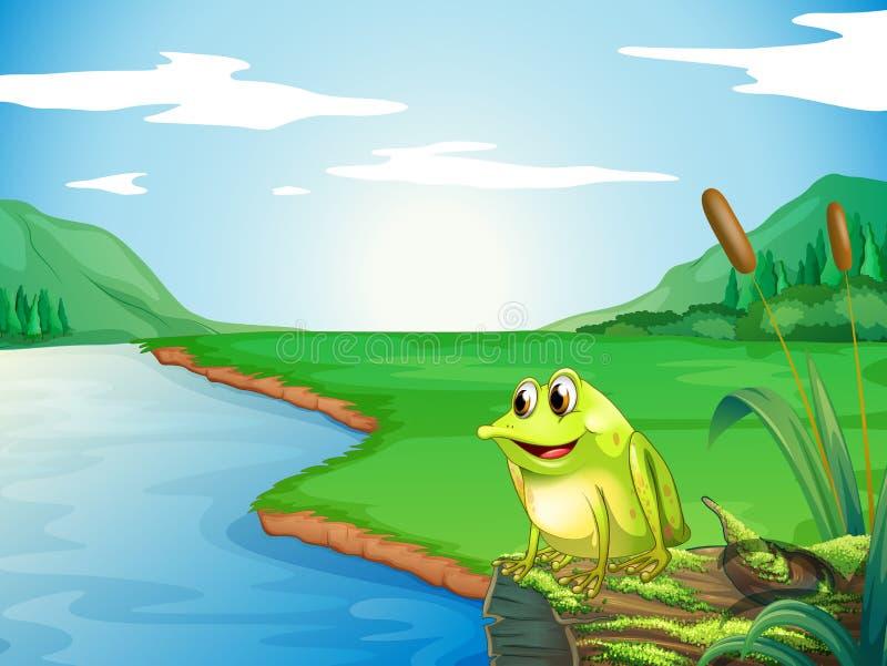En groda på flodstranden vektor illustrationer