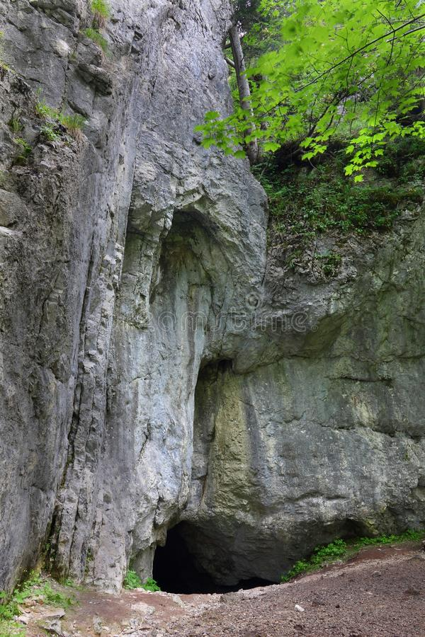En grotta kallade Dziuraen i Polen arkivfoto