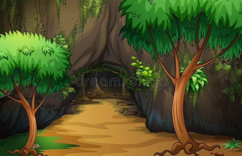En grotta på skogen stock illustrationer