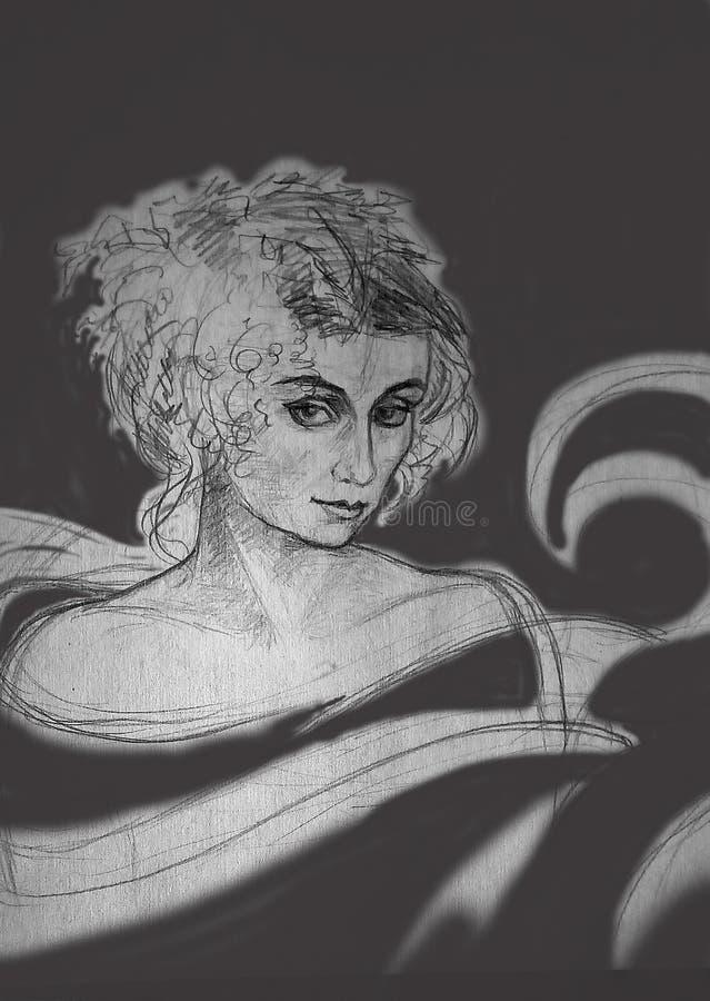 En grov blyertspenna skissar av en kvinna på en grå bakgrund med fläckar royaltyfri illustrationer
