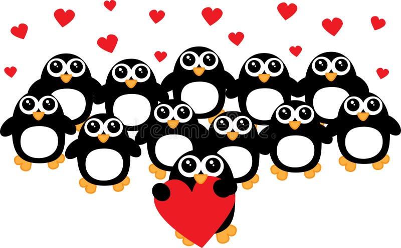En grupp av älskvärda pingvin royaltyfri illustrationer