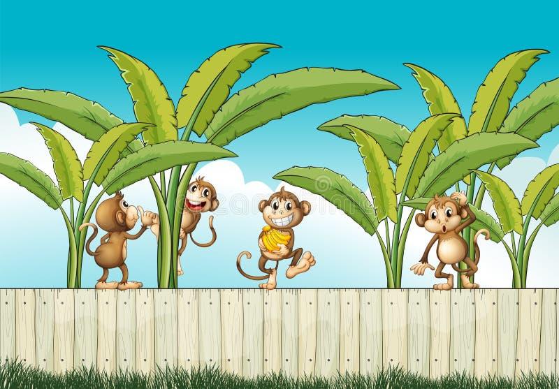 En grupp av apor på staketet vektor illustrationer