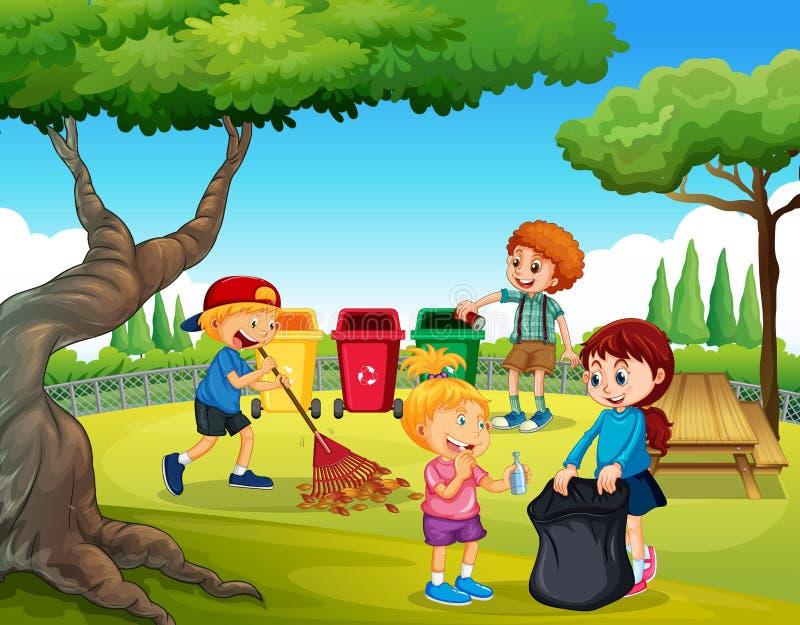 En grupp av barn som gör ren trädgården stock illustrationer