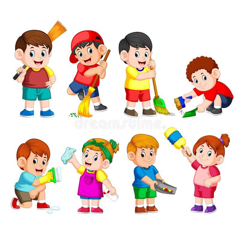 En grupp av barn som rymmer de rengörande hjälpmedlen för att göra ren något royaltyfri illustrationer